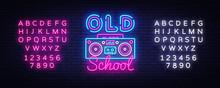 Old School Neon Sign Vector. R...