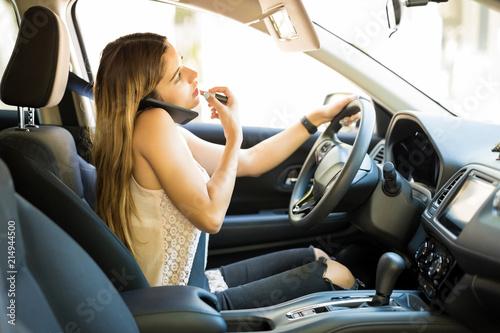 Obraz na plátně Careless female driver
