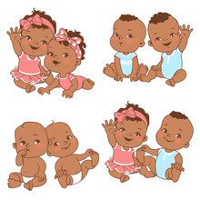 Baby Shower Set. Baby Girl And Baby Boy With Blank Text Bubble. Say Hello Mom Or Day. Different Pairs Of SiblingsTwin Shower Card. Dark Skin Children. Ethnic Baby. Vector Illustration.