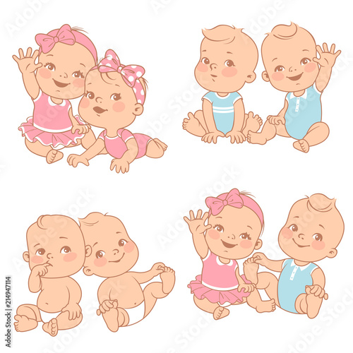 74df690028c73e set with cute little twin babies. Baby shower illustration. Twin girls and  boys. Different pairs of siblings. Sister and brother sitting waving hands.