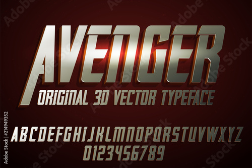 Photo Strong label typeface with vector 3d extrude effect