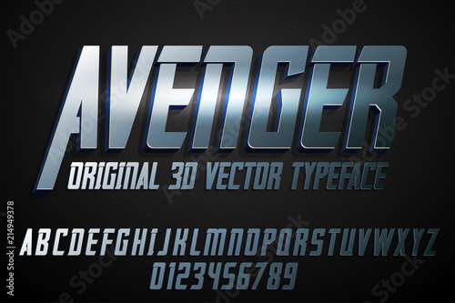 Cuadros en Lienzo Strong label typeface with vector 3d extrude effect
