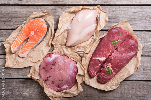 Staande foto Vlees salmon , beef , pork and chicken