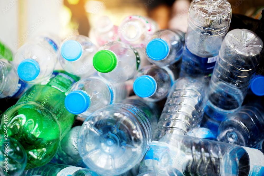 Fototapeta plastic bottles,Recycle waste management concept.