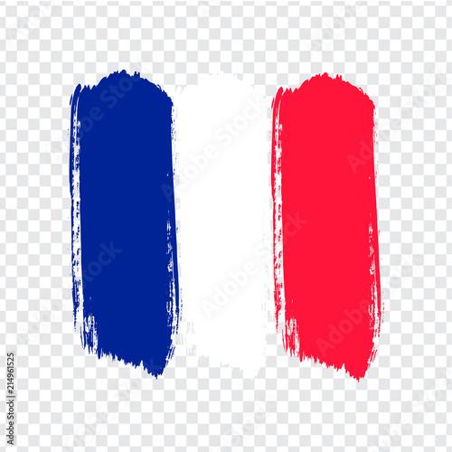 Obraz Flag of French Republic, brush stroke background.  Flag of French Republic on transparent background. Stock vector. Vector illustration EPS10. - fototapety do salonu
