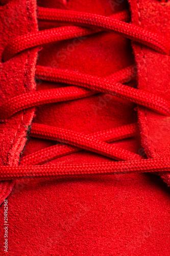 Fotografía  Cordones zapatillas rojo