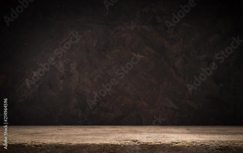 Fototapeta black background and desk board table obraz na płótnie
