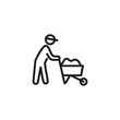 Construction worker pushing cart with cement line icon. Worker, handcart, labor. Engineering concept. Vector illustration can be used for topics like manual work, construction site, building