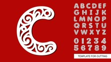 Letter C. Full English Alphabet And Digits 0, 1, 2, 3, 4, 5, 6, 7, 8, 9. Lace Letters And Numbers. Template For Laser Cutting, Wood Carving, Paper Cut And Printing. Vector Illustration.