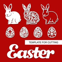 """Set Of Decoration For Easter: Rabbit (hare), Eggs And Word """"Easter"""". Template For Laser Cutting, Wood Carving, Paper Cut And Printing. Vector Illustration."""