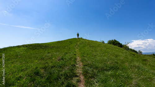 Foto op Aluminium Blauw Exploring the beautiful landscape in Transylvania, Romania on a sunny spring day.
