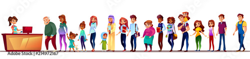 Fotografie, Obraz People in long queue vector illustration
