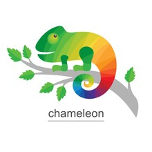 Logo Chameleon On Branch. Colo...