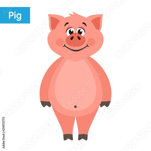 cute pink pig cartoon character on a white background flat style