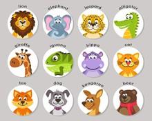 A Set Of Animal Portraits In A Round Frame. Lion, Elephant, Leopard, Alligator, Giraffe, Iguana, Hippo, Cat, Fox, Dog, Kangaroo, Bear. Icons In The Flat Style. Cartoon Characters. Vector.