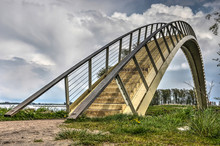 The Ooypoort Pedestrian Bridge, At The Time Of Construction The Longest Single-span Composite Bridge In The Netherlands Gives Pedestrians Access To The Ooijpolder Area
