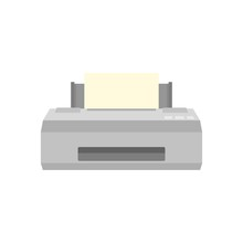 Old Printer Icon. Flat Illustration Of Old Printer Vector Icon For Web Isolated On White