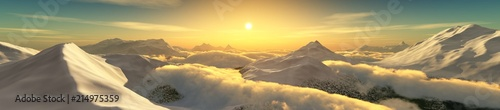 Foto op Aluminium Zwavel geel Peaks in the clouds at sunset. Panorama of the mountain landscape. 3D rendering