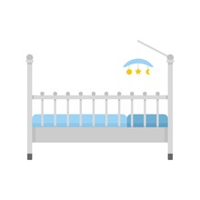 Baby Bed With Toys Icon. Flat Illustration Of Baby Bed With Toys Vector Icon For Web Isolated On White