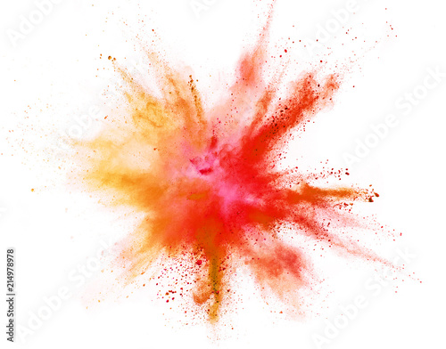 Coloured powder explosion isolated on white background Tableau sur Toile