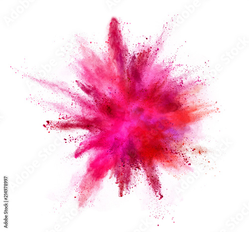 Photographie Coloured powder explosion isolated on white background