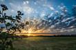 Wunderschöner Sonnenaufgang mit Wolkenhimmel über einem Feld in Brandenburg