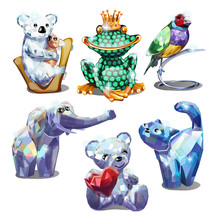 A Set Of Animal Figurines Of F...