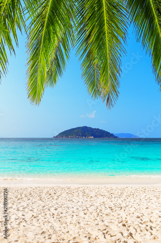 Staande foto Strand Beautiful beach and blue sky in Similan islands, Thailand. Vacation holidays background wallpaper. View of nice tropical beach. Travel summer holiday background concept.