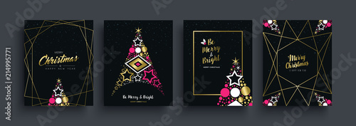 Obraz Christmas and New Year gold pine tree card set - fototapety do salonu