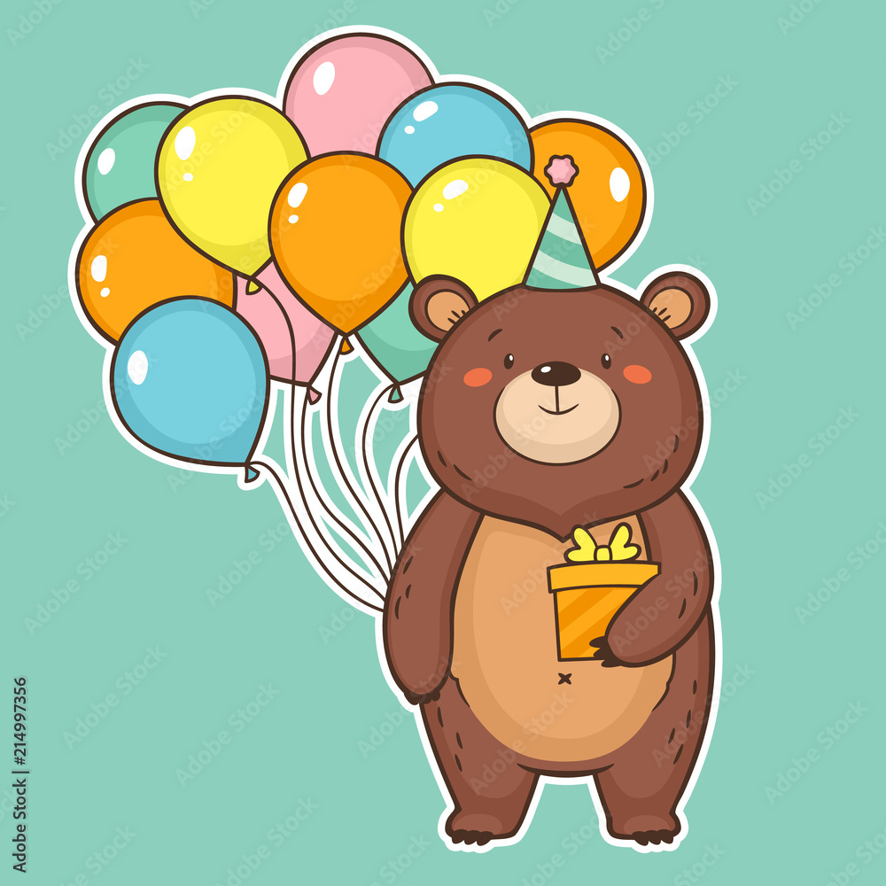 Cute Happy Birthday Card With Funny Bear Holding Air Balloons And A Gift Box Foto Poster Wandbilder Bei EuroPosters