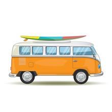 Old Retro Van Traveling Around...