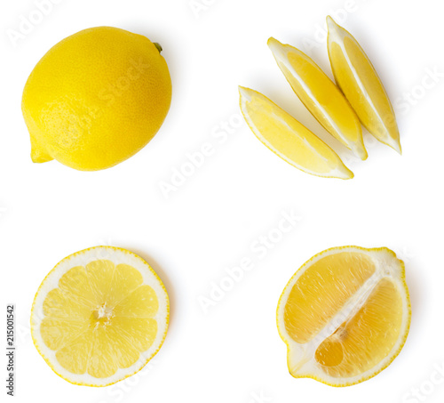 Fresh lemon, half and sliced valleys on a white, isolated. The view from the top. Fototapete