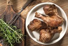Raw Marinated Chicken Drumsticks.