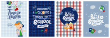 "Vector Posters ""back To School"" And ""time To Learn,"" Postcards And Backgrounds On The School Theme"