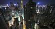 Hong Kong urban architecture. Modern city at night aerial view