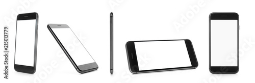 Fotografía  Different views of smartphone on white background