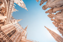 View Of Gothic Architecture And Art On The Roof Of Milan Cathedral (Duomo Di Milano), Italy