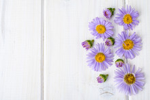 Violet Flowers On White Wooden Background