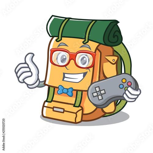 Keuken foto achterwand Cars Gamer backpack mascot cartoon style