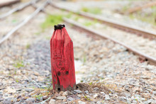 Old Wooden Red Pillar For Warn...