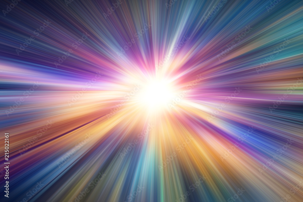 Fototapety, obrazy: colorful zoom blur speed night road effect abstract for background