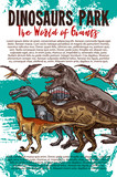 Dinosaurs adventure park banner with dino animals