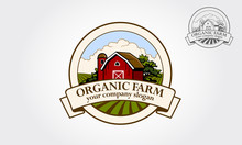 Organic Farm  Vector Logo Illustration. Cartoon Illustration Of Red Farm Barn. Logo Template Suitable For Business And Product Names.