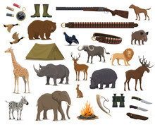 Hunting Sport Weapon, Wild Animals And Bird Icons