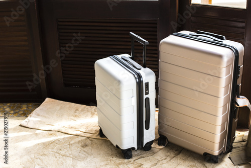 Luggage in a hotel room Canvas Print