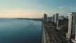 Manila aerial view waterfront skyline with yacht club aerial view day,