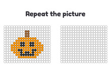 Vector Illustration. Game For Preschool Children. Repeat The Picture. Paint The Circles. Halloween. Pumpkin.