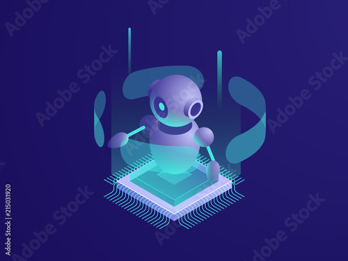 Fotografía Artificial intelligence ai robot, server room, digital technology banner, comput
