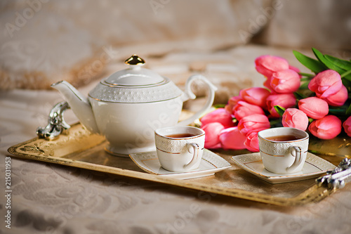 Romantic Tea Set With Flowers Nice Good Morning Breakfast In Bed
