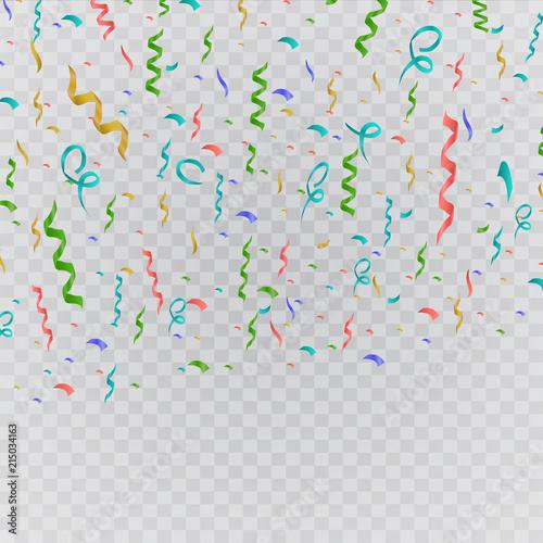 Fototapeta Colorful bright confetti isolated on transparent background. Festive vector illustration obraz na płótnie